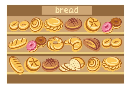 toasted: Cartoon bread multicolored icons on the shelves