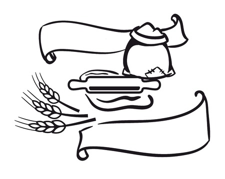 rollingpin: Vector Icons of sack of flour, rolling-pin, wheat and ribbon Illustration