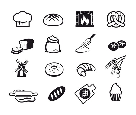 Sixteen black cooking and kitchen icons set