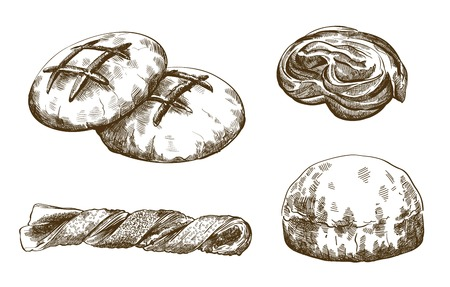 palatable: bakery products. set of vector sketches. hand drawn illustrations