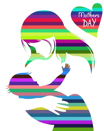 pregnant mom: Beautiful mother silhouette with her daughter. vector illustration Illustration