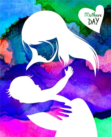 motherhood: Beautiful mother silhouette with her daughter. vector illustration Illustration