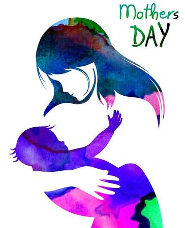 suckling: Bella madre silhouette con la figlia. illustrazione vettoriale