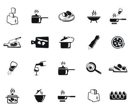 Keuken set van vector zwart pictogram op een witte achtergrond Stock Illustratie