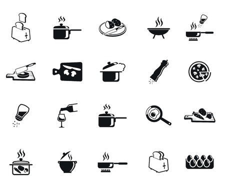 Kitchen set of vector black icon on white background