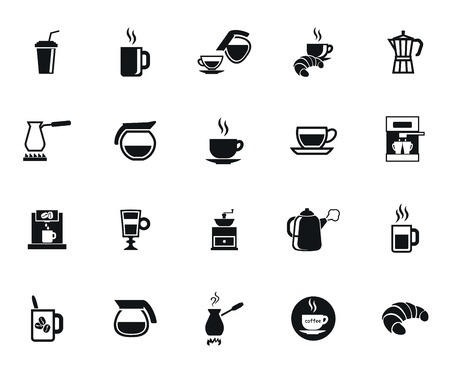 cups silhouette: Coffee set of vector black icon on white background Illustration