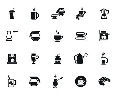 El conjunto de café de vectores icono negro sobre fondo blanco Ilustración de vector