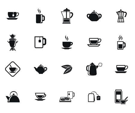 Tee-Set von Vektor schwarzen Symbol auf weißem Hintergrund Standard-Bild - 42205560