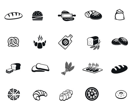 bread roll: Bread set of vector black icon on white background Illustration