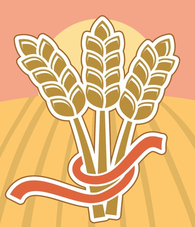 crop circle: wheat ears with ribbon on colorful background with field and sun