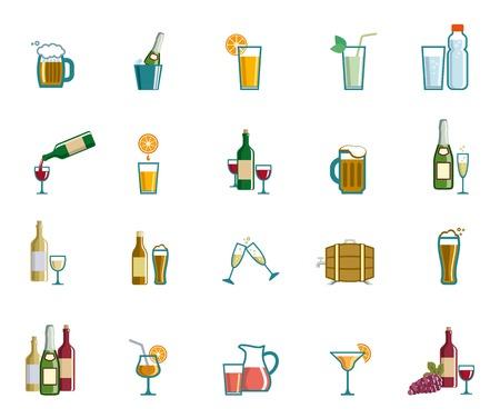 whisky bottle: Beverage set of colored vector icons on white background Illustration