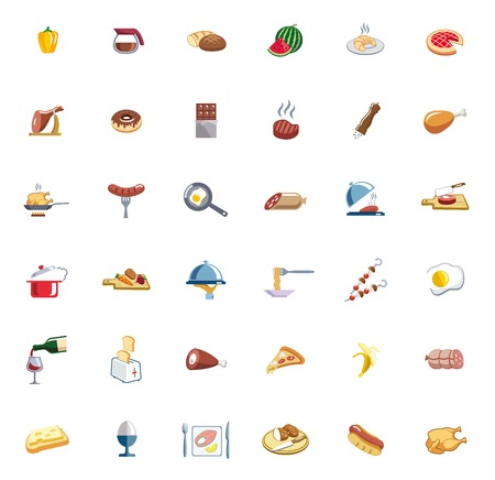 meat dish: food set of colored vector icons on white background Illustration