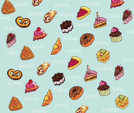 eclair: Beautiful vector background with color images of confectionery