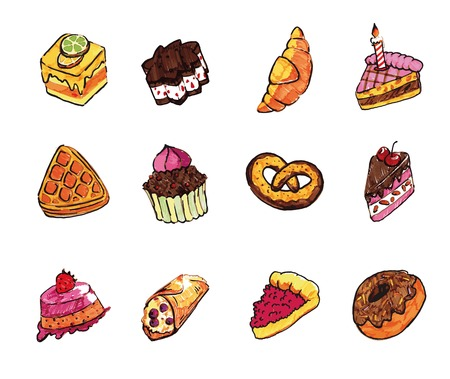 eclair: confectionery set of twelve color images on a white background Illustration