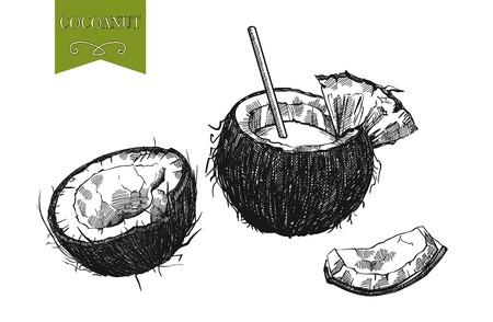 coco: cóctel de leche de coco y media un coco