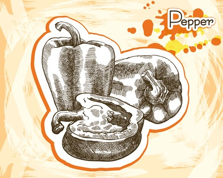 bell peppers: whole and sliced bell pepper. sketch made by hand