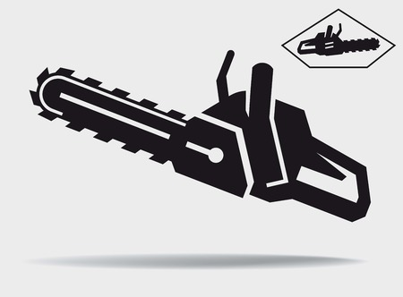 chainsaw: chainsaw vector black icon on a grey background