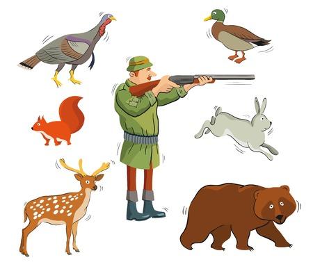 animales silvestres: cazador y animales salvajes. iconos de colores sobre un fondo blanco