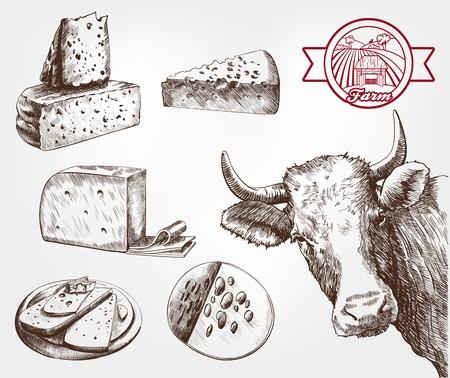 fokken koeien. set van schetsen met de hand gemaakt
