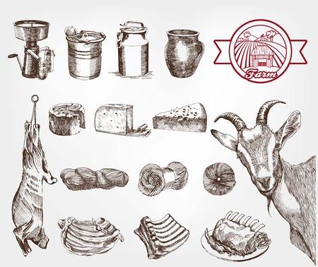 queso de cabra: cría de cabras. conjunto de bocetos hechos a mano Vectores