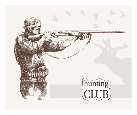 cazador: Hunter ve la meta. boceto hecho a mano
