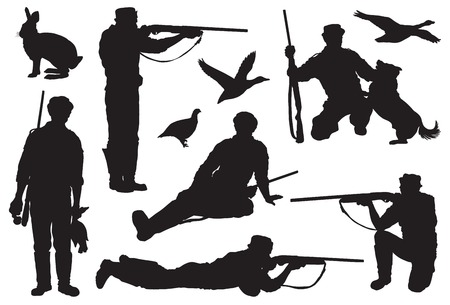 duck silhouette: Hunter directs a rifle at a target. set of black icons