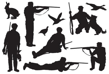 Hunter dirige un fucile ad un bersaglio. set di icone nere