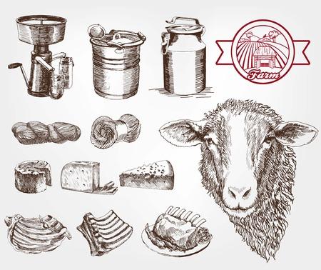 cría de ovejas. conjunto de bocetos hechos a mano