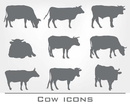 Satz von neun Symbole von Kühen auf einem grauen Hintergrund Vektorgrafik