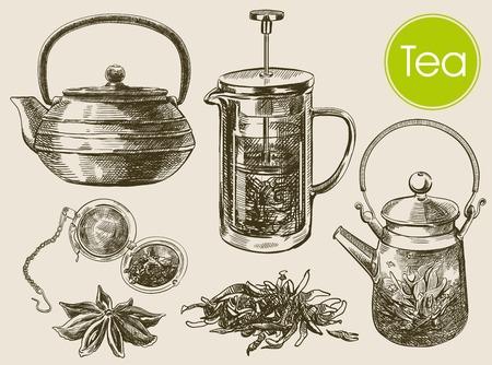 bocetos de personas: Ceremonia del té. hermoso fondo hecho a mano