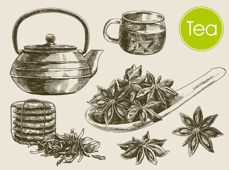 star anise: tea ceremony. beautiful background made by hand