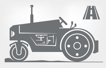 compactor: road roller. icon on a black background