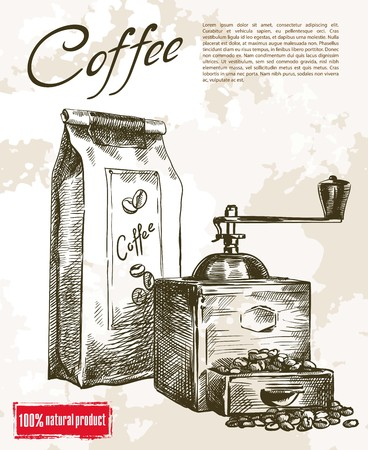 coffee sack: coffee mill. beautiful background made by hand