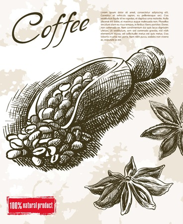 refine: coffee beans. beautiful background made by hand
