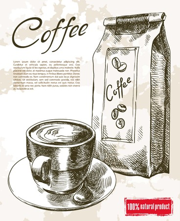 coffee sack: cup of coffee. beautiful background made by hand