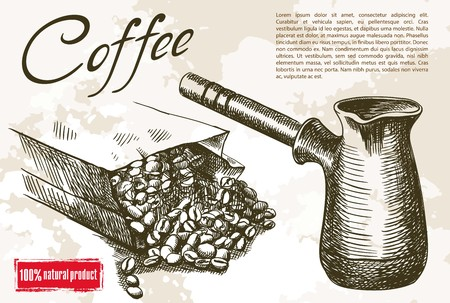 cezve: coffee beans and Cezve. beautiful background made by hand Illustration