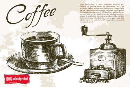 coffee mill: cup of coffee and coffee mill. beautiful background made by hand