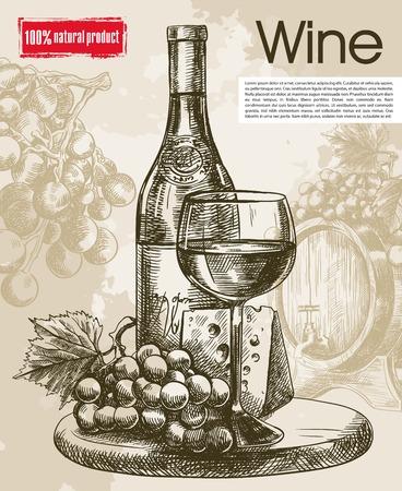 ビンテージ ワインの試飲。手で作られた美しい背景