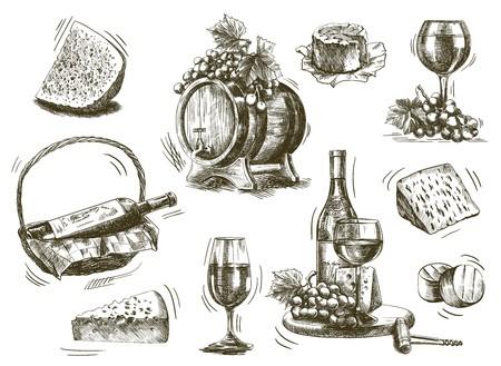 corcho: vinificación. conjunto de bocetos sobre un fondo blanco Vectores