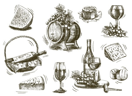 glass with red wine: winemaking. set of sketches on a white background Illustration