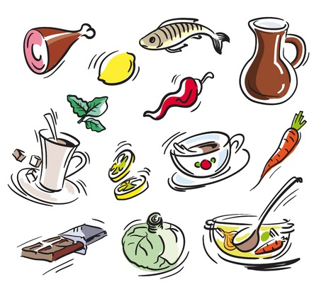 raw beef: food items. set of sketches on a white background Illustration