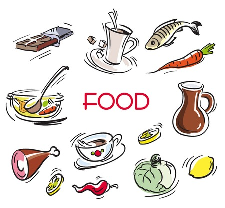 foodstuff: food items. set of sketches on a white background Stock Photo