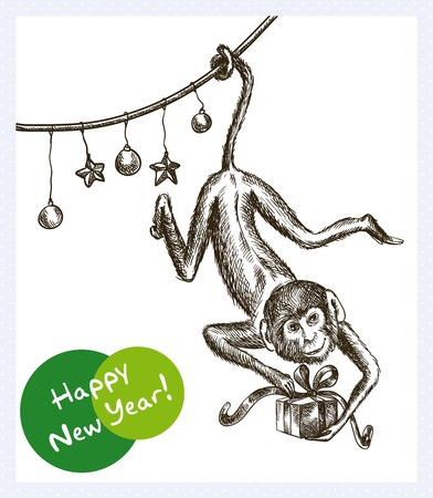 keeps: monkey hanging on the garland and keeps Christmas gift Illustration