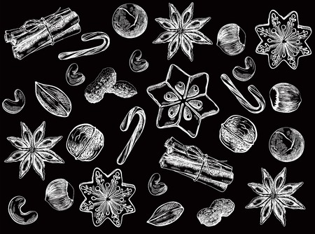 pine nut: sweets, nuts and spices. set of sketches on an black background Illustration