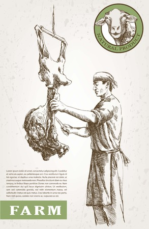 man standing: Butcher with meat. vector sketch made by hand