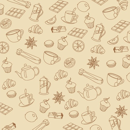 lobule: hot drinks and dessert. sketches made by hand Illustration