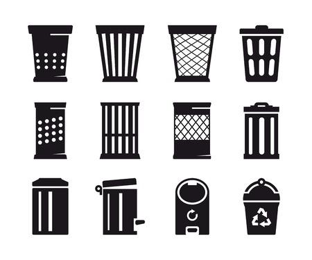 trash basket: Black trash can icon on a white background