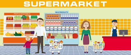 purchased: Color illustration of a family shopping in a supermarket
