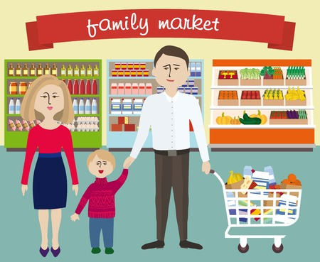 range fruit: Color illustration of a family shopping in a supermarket