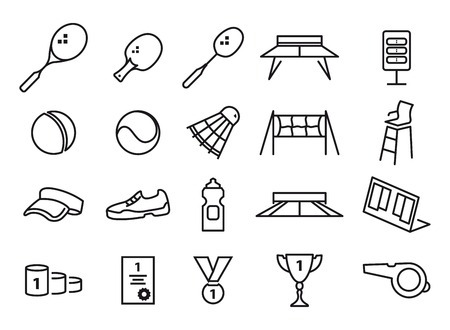 implements: tennis, table tennis and badminton. Black icons on white background